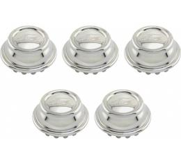 Model A Ford Hub Cap Set - 5 Pieces - Nickel Plated - Ford Script - Fits 2-5/8 Rim Opening - Show Car Top Quality