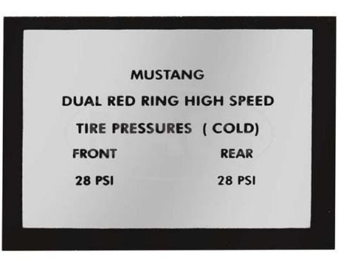 Ford Mustang Decal - Tire Pressure - Red Ring