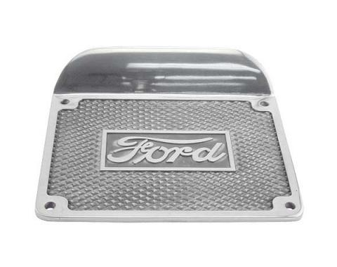 Model T Ford Running Board Step Plate - Polished Aluminum -Ford Script - 6-1/2 X 8-1/2