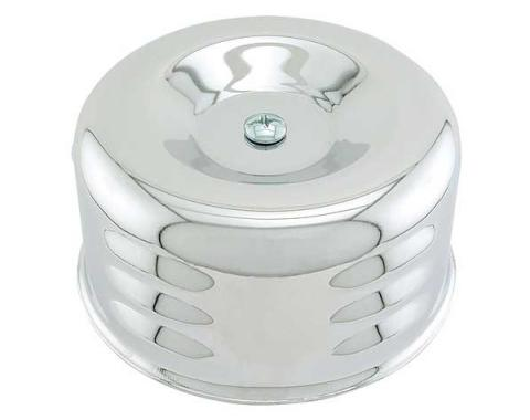 Air Cleaner - Louvered Chrome - 2-5/8 Throat - Fits 2 Barrel Carb