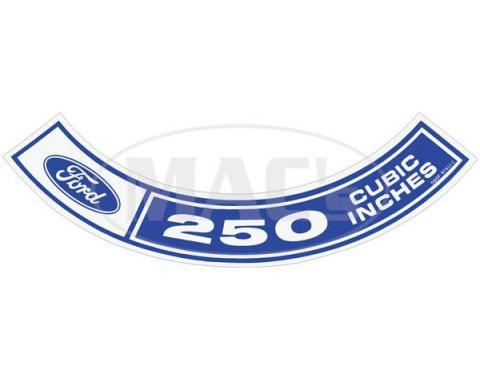 Air Cleaner Decal - Ford, 250-1V - 6 Cylinder - Comet & Montego