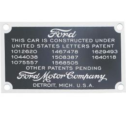 Model A Ford Data Patent Plate - Mounts On Firewall