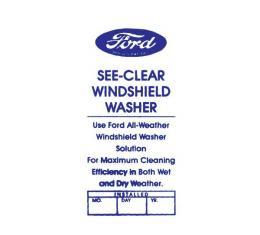 Windshield Washer Bottle Bracket Decal - Light Blue - Ford