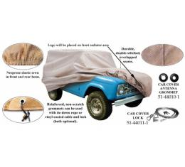 Car Cover With Logo, Poly Cotton, With Rear Spare Tire, 1978-1979