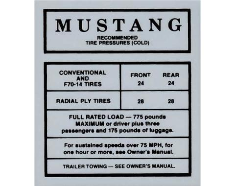 Ford Mustang Decal - Glove Box Tire Pressure - Through Early 1968