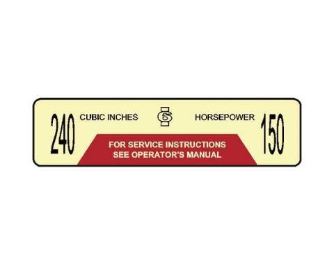 Ford Pickup Truck Air Cleaner Decal - 150 Horsepower 240 CID
