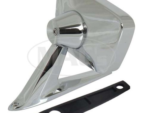 Outside Rear-View Mirror Assembly - Rectangular Head - Manual Control - Chrome - Matches Left Side Remote - Right