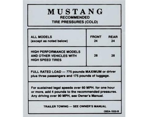 Ford Mustang Decal - Glove Box Tire Pressure