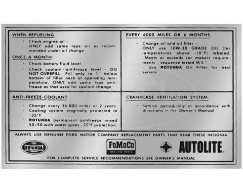 Decal - Service Specification - 1965-1966 - FoMoCo Autolite and Rotunda logos
