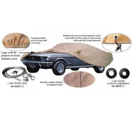Car Cover, Tan Flannel, With Logo, Fastback 1969-1970, WithMirror Pockets On Both Sides
