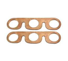 Model A Ford Intake & Exhaust Manifold Gaskets - Copper Clad Asbestos-Like Type - With Glands Built In - 2 Pieces - Late 1931