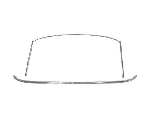 Ford Mustang Windshield Moulding Set - 5 Pieces - Bright Metal - Coupe