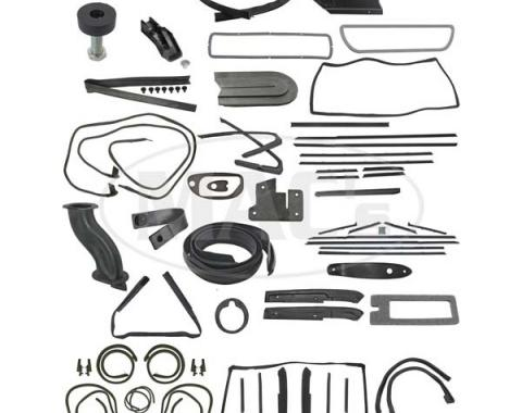 Thunderbird Complete Weather-Strip Kit, Convertible, Short Cowl Drain Tubes, Black Front Header Seal, Late 1964