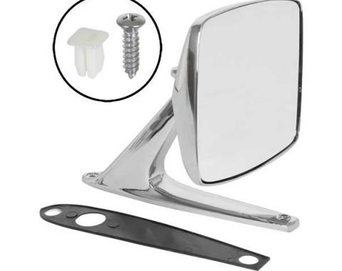 Ford Pickup Truck Outside Rear View Mirror Assembly - Chrome - 4 X 5 Rectangular Head - Right Or Left - Manual Control - F100 Thru F350
