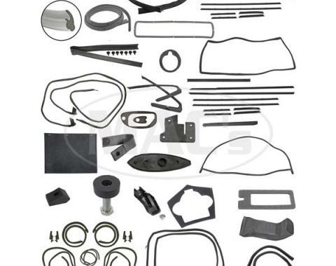 Thunderbird Complete Weather-Strip Kit, Hardtop, Short Cowl Drain Tubes, Gray Trunk Rear Edge Seal, Late 1964