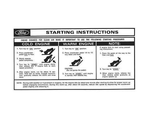 Sun Visor Sleeve Decal - Starting Instructions - Ford