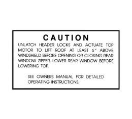 Convertible Top Caution Decal - Mercury