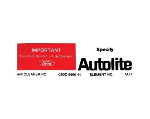 Ford Mustang Air Cleaner Decal - Autolite Replacement Parts- For Non-Ram Air 428 & Boss 302