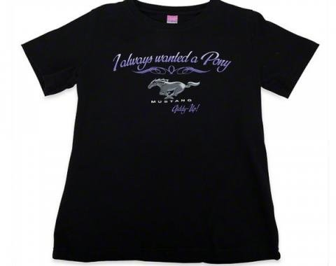 Mustang I Always Wanted A Pony Ladies T-Shirt, Black