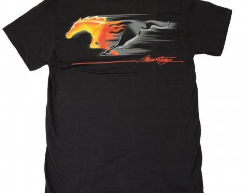 Flaming Tribal Pony T-Shirt, Black
