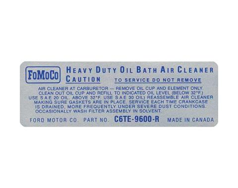 Air Cleaner Decal - For Oil Bath Type