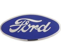 Model A Ford Radiator Emblem - Blue On Chrome - Ford Script- Attach To Radiator Shell - USA Made