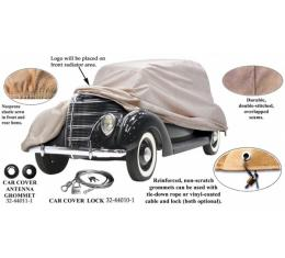 Car Cover, Poly Cotton, With Ford Script (FD-10) Logo, Convertible, 1937-1938