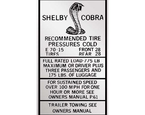 Ford Mustang Decal - Glove Box Tire Pressure - High Speed E70-15 - Shelby