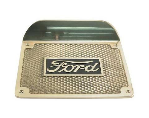 Model T Ford Running Board Step Plate - Highly Polished Brass - Ford Script - 6-1/2 X 8-1/2