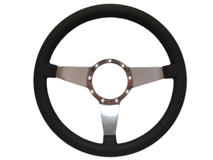 Volante S9 Premium Steering Wheel, with Solid Polished Aluminum Spokes & Leather Grip