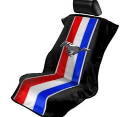 Seat Armour Mustang Pony Tribar, Seat Towel, Black with Logo SA100MUSTRP