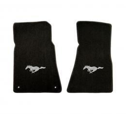Mustang Floor Mats, 2 Piece Lloyd® Velourtex™, with Silver Running Horse, Black Carpet, 1994-2004