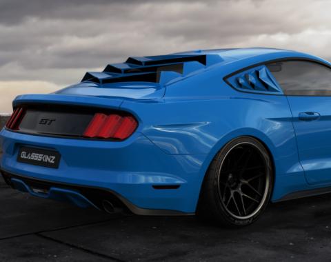 GlassSkinz 2015-2020 Mustang Bakkdraft Rear Window Valance / Louver BAKKDRAFTS550-QTR