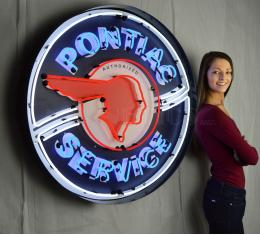 Neonetics Big Neon Signs in Steel Cans, Pontiac Service 36 Inch Neon Sign in Metal Can