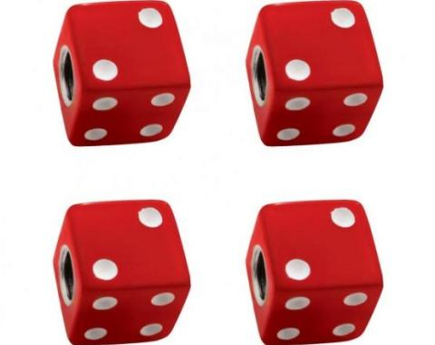 United Pacific Red Dice Valve Caps w/ White Dots (4 Pack) 70005