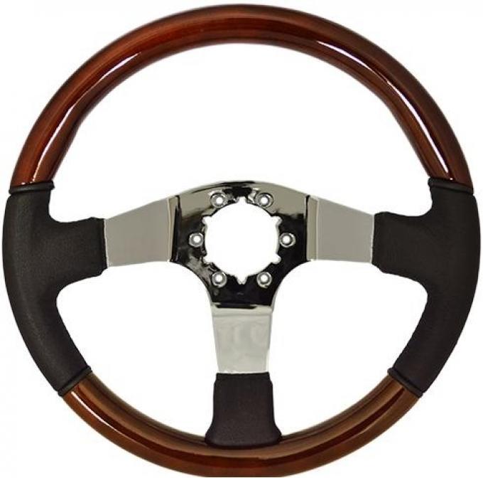 Volante S6 Sport Steering Wheel, with Chrome Spokes & Mahogany/Black Leather Grip