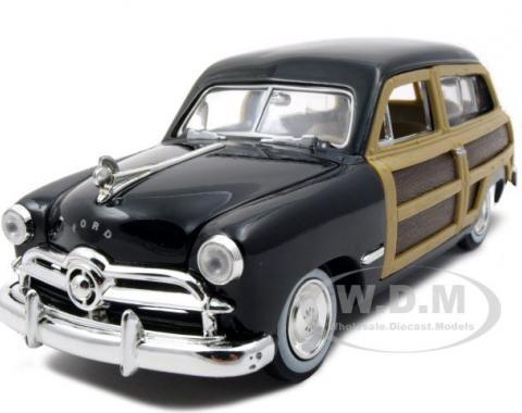 1949 Ford Woody Wagon Black 1/24 Diecast Model Car