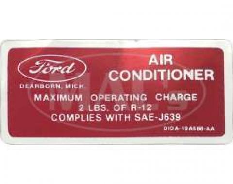Air Conditioner Charge Decal, Ranchero, Torino, 1971