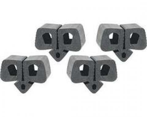 Hood Bumper Set - Black Rubber - Push-In Type - 4 Pieces