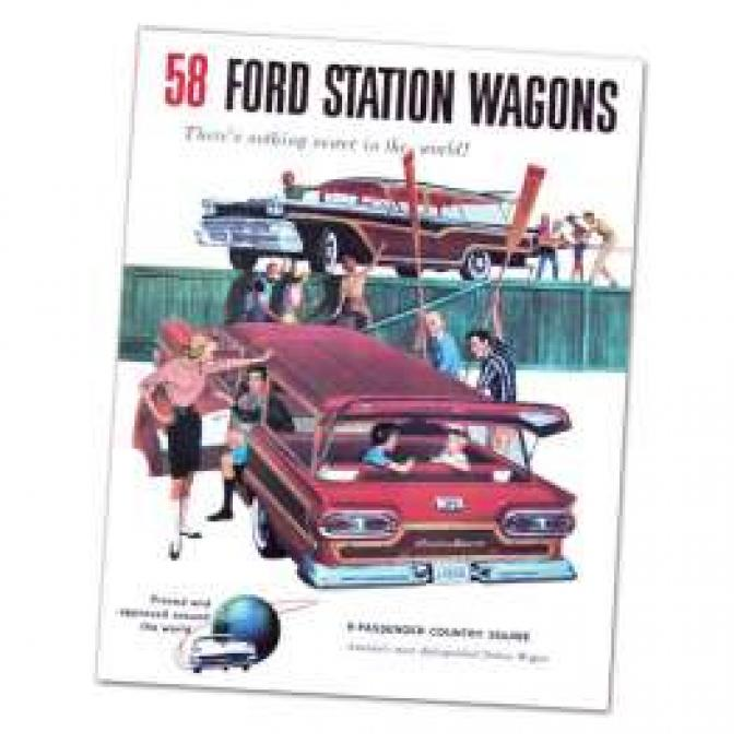 Dealer Sales Brochure - Ford Station Wagon - 1958 - Foldout Type