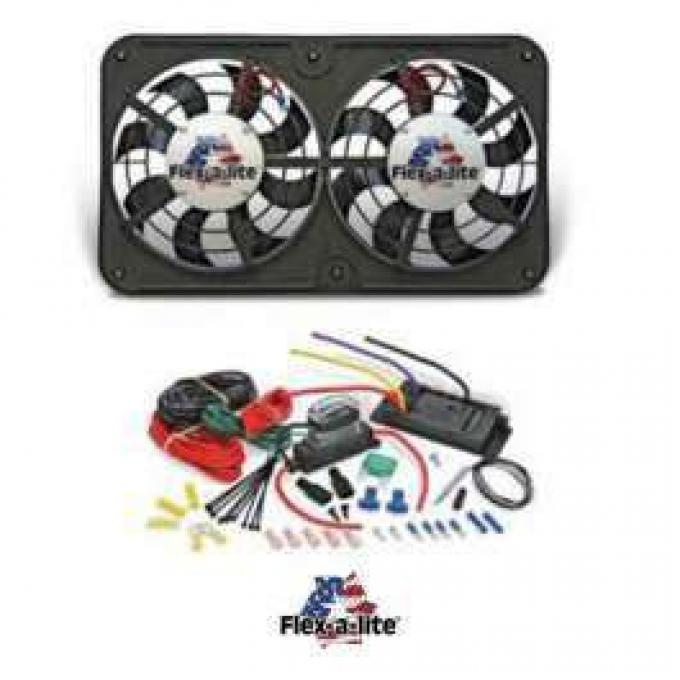 Ford Fan Kit, Dual Electric, Flex-A-Lite, 12, 500CFM