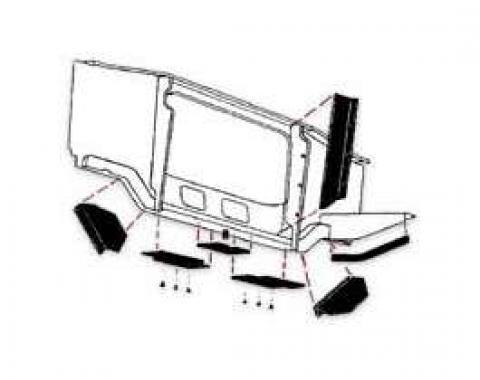 Side Radiator Air Deflector Seals - 3 x 14-1/8 - 390, 427 and 428 V8