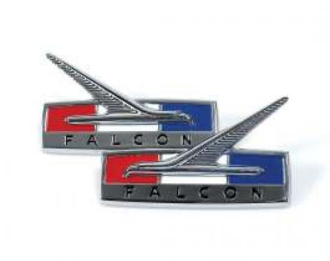 Fender Ornaments - Chrome With Red, White and Blue Highlights and Recessed Black Lettering