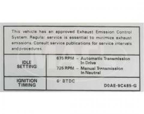 70 390-2V AT/MT Emission Decal (Before 10/1)