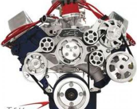 Tru Trac Serpentine System, Polished, Small Block Ford, Without Power Steering, With Air Conditioning