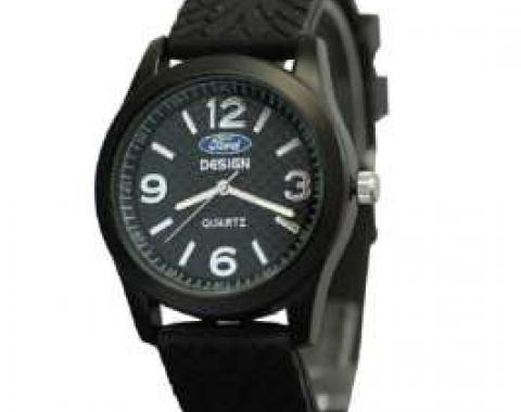 Watch,Mens Black Silicone Band,Ford Oval Logo,Black Face