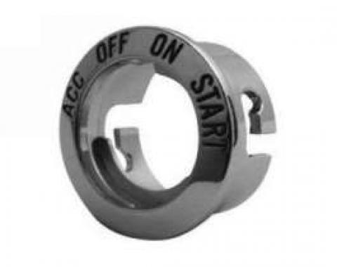 Ignition Switch Bezel - Bright Metal With Recessed Black Lettering