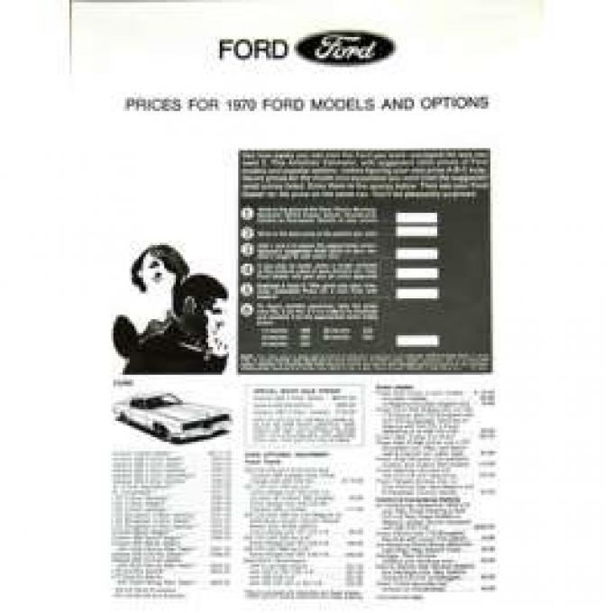 1970 Ford Makes Prices and Options List
