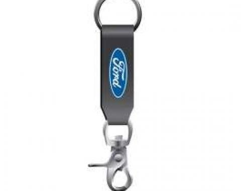 Ford Key Chain,Leather Strap,With Ford Blue Oval Logo