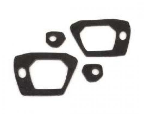 Outside Door Handle Pad Set - Black Rubber - Front and Rear - 4 Pieces